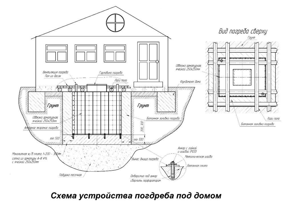 Схема устройства погреба и подвала под домом